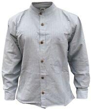 Mens Collarless Pinstripe Grandad Hippie Shirt Boho Hippy Mens Full Sleeve Tops