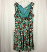 Lindy Bop Ophelia' Enchanting Turquoise Floral 1950s Inspired Dress Plus Sz 2XL