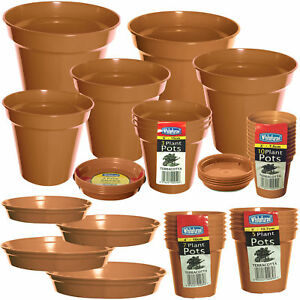 Packs of Plastic Terracotta Plant Pots Garden Flowers Plants or Range of Saucers