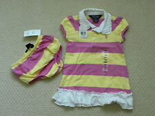 girls 2 pc RALPH LAUREN pink yellow white rugby dress size 12M 12 mos NEW nwt