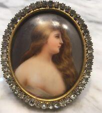 Antique Rhinestone BRONZE FRAME ENAMEL PAINTING PORCELAIN PLAQUE PORTRAIT LADY
