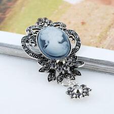 Vintage Women Cameo Victorian Rhinestone Flower Brooches Elegant Jewelry Pin