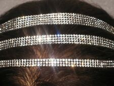 3,4, & 5 ROWS of Rhinestone Crystal Bling Stretch Non Slip Elastic Headband