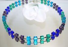 Kette Würfelkette funkelndes Kristallglas geschliffen blau petrol aubergine 095h
