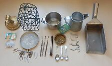 Junk Drawer Lot Metal Brass Stainless Steel VA Cup Strainer Baby Spoons Knives