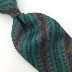 Luciano Barbera Italy Tie Green Brown Stripe Floral Silk Necktie VintageI19-6/F