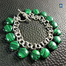 ♥ SHIP TO QC CA USA UK EU AU  Charming Malachite Discs & Plated Silver Bracelet