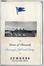 1949 RMS QUEEN OF BERMUDA Furness Line PASSENGER LIST Diary CRUISE SHIP Liner