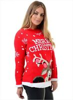 New Ladies Christmas 3D Pom Pom Xmas Knitted Novelty Retro Jumper Sweater Top