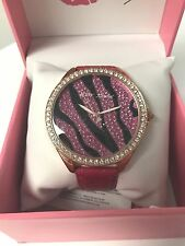 NWT Betsey Johnson Pink Fuchsia Zebra Leather Bling watch pave jewels rose gold
