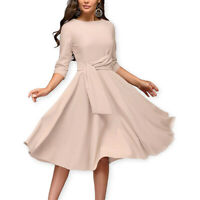 Women Elegant Pleated Audrey Hepburn Style 3/4 Sleeve Swing Cocktail Party Dress