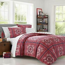 Poppy & Fritz RED REECE BANDANA 3 PIECE Comforter Set Full Queen