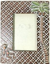 Carved Wood Tone Resin Frame Jungle Monkey Coconut Tree 4x6 Photo