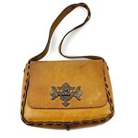 Vtg Mexico Hand Tooled Leather Shoulder Purse Floral Woven Hippie Boho