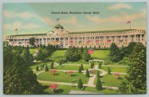 Mackinac Island Michigan~Grand Hotel~1940s Linen Postcard