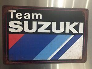 Retro Sign Motor Bike Oil Tyre Garage Cave Bar 30cm x 20cm METAL... TEAM SUZUKI