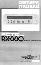 Rotel RX-880 Receiver Owners Manual