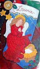 "Bucilla Christmas Stocking WATCHING OVER ME Felt Kit  18"" Maria Stanziani"