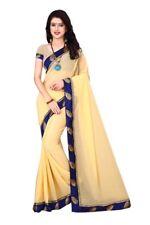 Cream Color Saree Dhupian Unstitched Blouse Fabric Pure Georgette Sari S1048