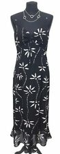 KALIKO Dress Size 14 Black w/White Floral Wedding Evening Summer Holiday Wedding