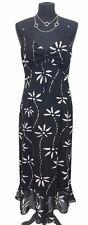 KALIKO Dress Size 14 Black w/White Floral Wedding Evening Summer Holiday Wedding