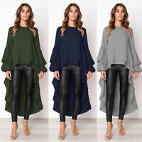 Women's Long Sleeve Asymmetrical Waterfall Shirt Tops High Low Plus Blouse Shirt
