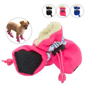 4pcs Waterproof Pet Dog Shoes Anti-slip Snow Boots Footwear Soft Fleece Socks