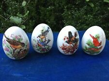 Avon Four Seasons Collectible Eggs and Stands Bird Cardinal Bluebird Set of 4