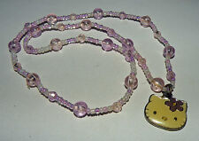 """Hello Kitty pink purple beaded necklace sanrio  one size stretch 16"""""""
