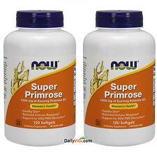 2 x NOW Super Evening Primrose Oil 1300 mg 120 SGels, Women's Health, FRESH