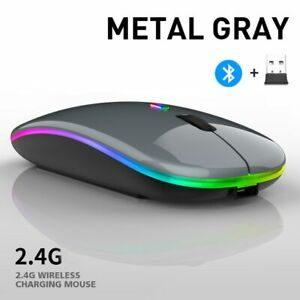 Bluetooth Wireless With USB Rechargeable RGB Mouse BT5.2 For Laptop Computer PC