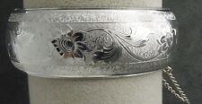 Victorian Revival Bracelet Wide Silver Tn Vintage