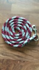 Pony Nylon Lead Rope 70 inches with steel Swivel Snap - gray/maroon candy cane