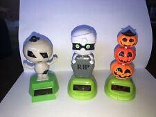 Solar Powered Dancing Toy Bobblehead - Set Of 3 - Halloween Mummy & Pumpkin