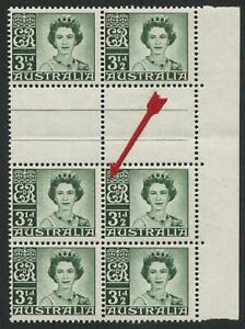 1959-60 (SG.312) 3½d Dark Green QEII inter-pane block of 6 with variety, MUH