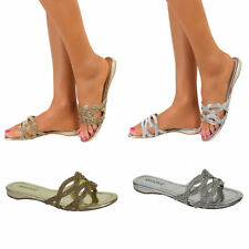 Flat (0 to 1/2 in.) Block Leather Slip On Sandals & Flip Flops for Women