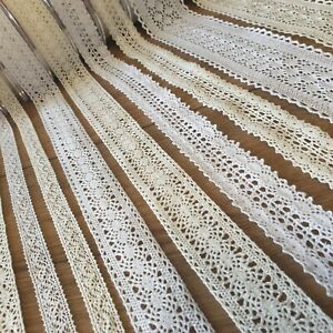 Quality Cotton Lace Trim Ribbon 1 Metre White/Ivory Vintage/Rustic Sewing Edge
