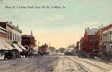 LeMars Iowa Main Street Scene Historic Bldgs Antique Postcard K25242