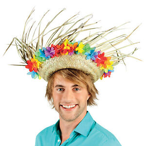 MENS LADIES STRAW HAT HAWAIIAN LEI SUMMER PARTY SILLY FANCY DRESS COSTUME NEW