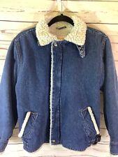 Vintage London Fog Men's Small Denim Jacket Faux Sherpa Fur Lined Coat Full Zip