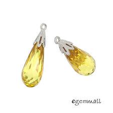 1PC Sterling Silver CZ Teardrop Pendant Earring Charm Bead Citrine Yellow #98282