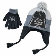 New Disney Star Wars Youth 7-16 Darth Vader Hat Beanie Cap & Gloves Set