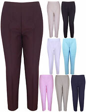 NEW LADIES PLAIN ELASTICATED WAIST WOMENS STRAIGHT LEG POCKET STRETCH TROUSERS