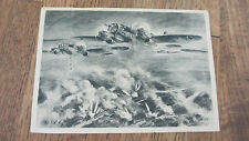 RARE Black & White 1945 German Military Postcard Shows Nazi Plane Dropping Bombs