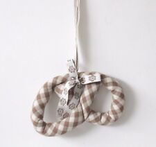Maileg Handmade Danish Christmas Tree Ornament Decoration Brown Gingham Pretzel