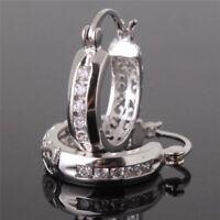 925 Silver White Topaz Women Jewelry Fashion Ear Stud Hoop Earrings Trendy