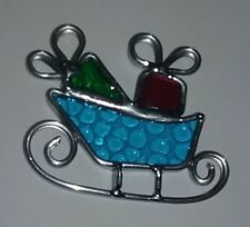 Stained Glass Christmas Santas Sleigh Tree Ornament Decoration