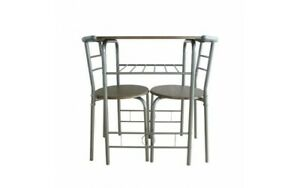 Small silver Grey Wooden Metal Dining Table And 2 Chairs Set Kitchen Room