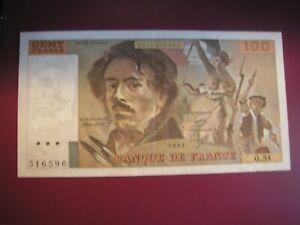 TRES BEAU BILLET DE 100 FRANCS DELACROIX 1981 1.
