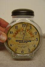 """RARE ANTIQUE Clock Glass Bottle Lid """"Happy Time"""" Dutch Lunch Sauce w/ LABEL LID"""